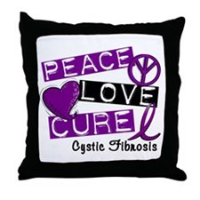 PEACE LOVE CURE Cystic Fibrosis (L1) Throw Pillow