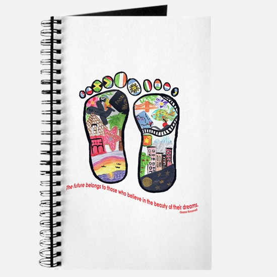 Traveling feet with Eleanor Roosevelt quote Journa
