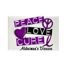 PEACE LOVE CURE Alzheimer's Disease Rectangle Magn