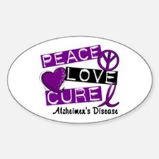 PEACE LOVE CURE Alzheimer's Disease Oval Decal