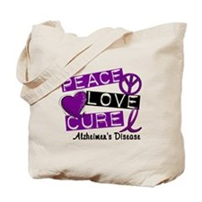 PEACE LOVE CURE Alzheimer's Disease Tote Bag