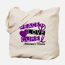 PEACE LOVE CURE Alzheimer's Disease Tote Bag