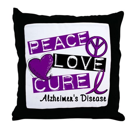 PEACE LOVE CURE Alzheimer's Disease Throw Pillow