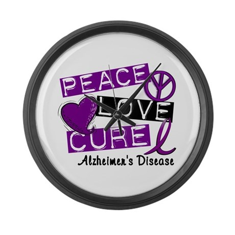 PEACE LOVE CURE Alzheimer's Disease Large Wall Clo
