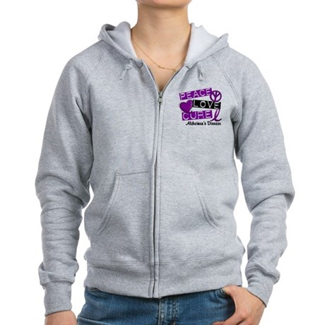 PEACE LOVE CURE Alzheimer's Disease Women's Zip Ho