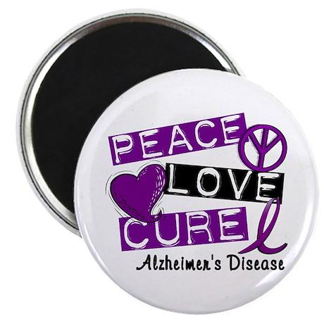 PEACE LOVE CURE Alzheimer's Disease Magnet