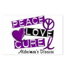 PEACE LOVE CURE Alzheimer's Disease Postcards (Pac