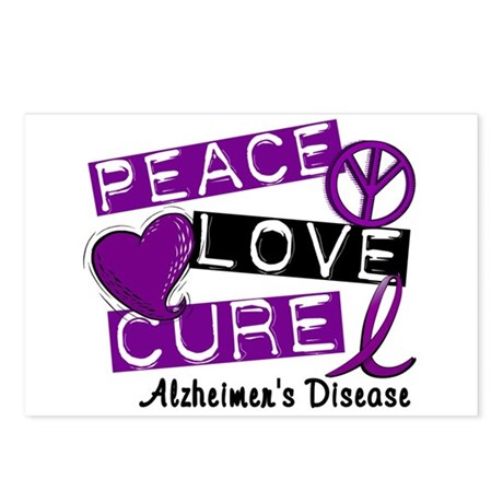 PEACE LOVE CURE Alzheimer's Disease Postcards (Pac
