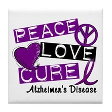 PEACE LOVE CURE Alzheimer's Disease Tile Coaster
