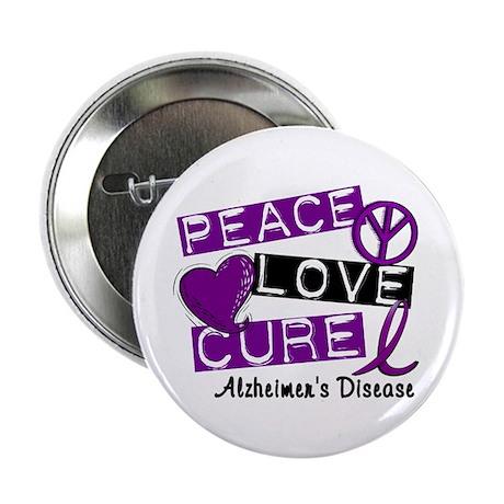 "PEACE LOVE CURE Alzheimer's Disease 2.25"" Button ("
