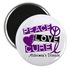 "PEACE LOVE CURE Alzheimer's Disease 2.25"" Magnet ("