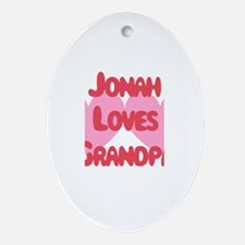 Jonah Loves Grandpa Oval Ornament