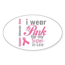 I Wear Pink Sister-in-Law Oval Decal