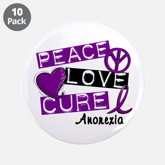 "PEACE LOVE CURE Anorexia (L1) 3.5"" Button (10 pack"