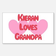 Kieran Loves Grandpa Rectangle Decal