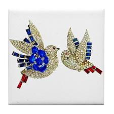 Rhinestone Blue Birds Art Tile Coaster