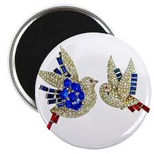 Rhinestone Jewelry Blue Birds Magnet