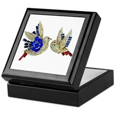 Rhinestone Birds Velvet Lined Tile Jewelry Box