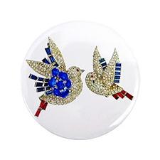 "Rhinestone Jewelry Blue Birds 3.5"" Button"