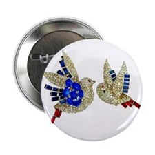 "Rhinestone Jewelry Blue Birds 2.25"" Button"