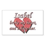 Isabel broke my heart and I hate her Sticker (Rect
