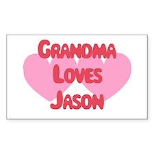 Grandma Loves Jason Rectangle Decal