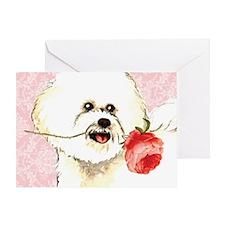Bichon Rose Greeting Card