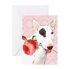 Bull Terrier Rose Greeting Card