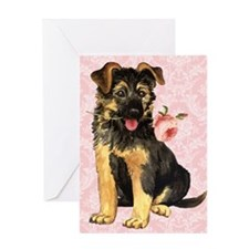 German Shepherd Rose Greeting Card