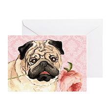 Pug Rose Greeting Card