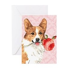 Pembroke Welsh Corgi Rose Greeting Card