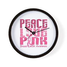 PEACE LOVE PINK Wall Clock