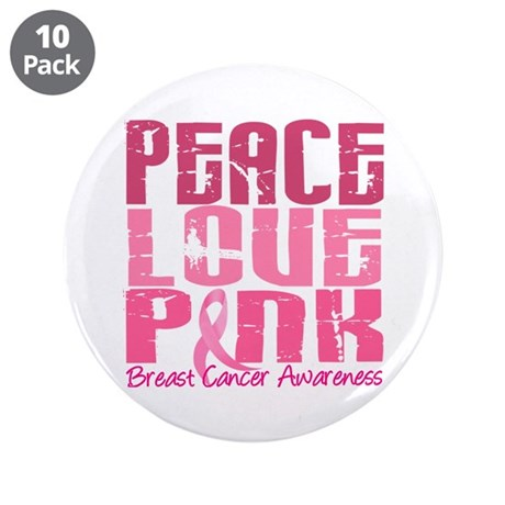 """PEACE LOVE PINK 3.5"""" Button (10 pack)"""