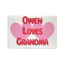 Owen Loves Grandma Rectangle Magnet