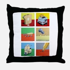 Throw Pillow of 6 tiny paintings by Steve