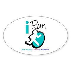 I Run Thyroid Cancer Oval Sticker (50 pk)