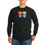 hearts Long Sleeve Dark T-Shirt