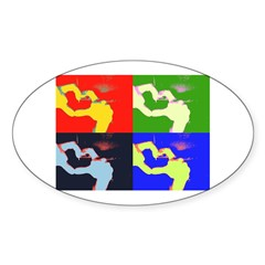 heart hand gesture Oval Decal