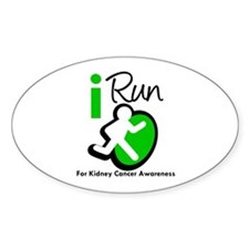 I Run KidneyCancerAwareness Oval Decal