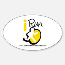 I Run Childhood Cancer Oval Decal