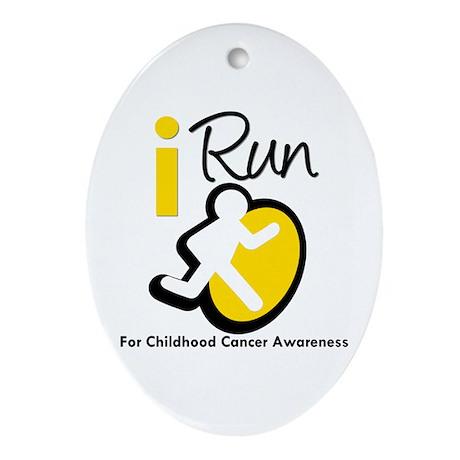 I Run Childhood Cancer Oval Ornament