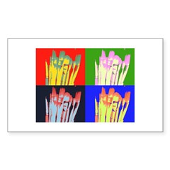 paint brushes Rectangle Sticker 50 pk)