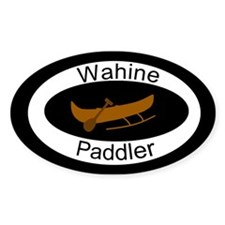 Wahine Canoe Paddler Oval Decal