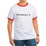 Shemail Ringer T - Shemail email for the feminine geek/nerd/neek. Are you a computer genius, or brilliant creative? Shemail your email from UranusCafe.com - Availble Sizes:Small,Medium,Large,X-Large,2X-Large (+$3.00) - Availble Colors: Black/White,Red/White,Navy/White