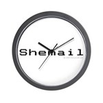Shemail Wall Clock - Shemail email for the feminine geek/nerd/neek. Are you a computer genius, or brilliant creative? Shemail your email from UranusCafe.com