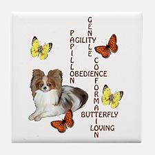 papillon crossword puzzle Tile Coaster