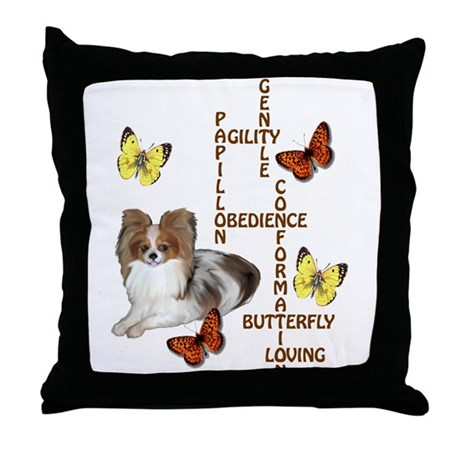 Decorative Pillow Cover Crossword Clue : papillon crossword puzzle Throw Pillow by dogdaze