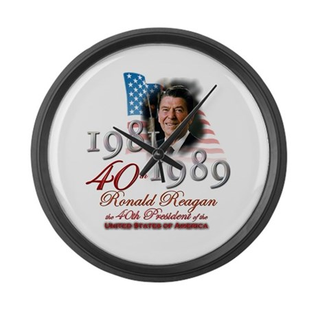 40th President - Large Wall Clock