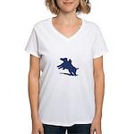 Blue Dachshund Women's V-Neck T-Shirt