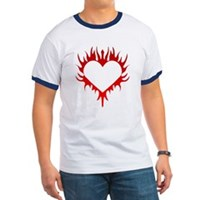 Flaming Heart Ringer T
